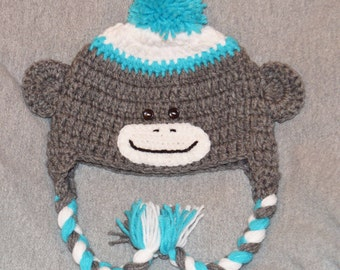 3-6 yr old sock monkey hat, gray and teal monkey hat, kids monkey hat,monkey hats, monkey beanie,boys monkey hat, crochet sock monkey hat