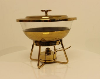 Vintage Mid Century Tommi Parzinger Brass Serving Chafing Dish