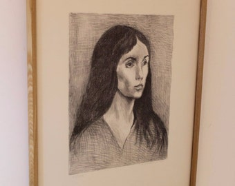 Raphael Soyer Woman Black Hair Signed Lithograph Black & White Numbered 21/300
