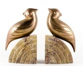 BRASS & MARBLE BOOKENDS Art Deco, Vintage Brass Art Deco Bookends