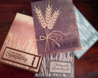 Set of Four Wheat Sympathy Cards