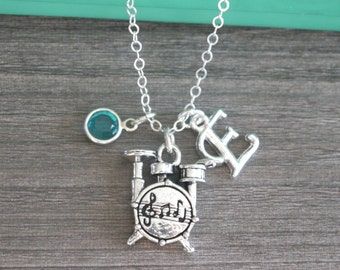 Drums Necklace, Drummer Necklace, Personalized Drums Necklace, Initial Birthstone Necklace, Silver Drums Jewelry, Gifts for Drummer Girl