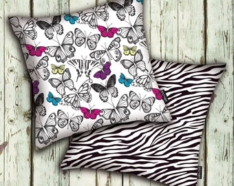 BUTTERFLIES  CUSHION COVER / Printed on both sides /Co-ordinating pattern on the back so you can mix & match