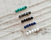 Bracelet boho natural gemstone Turquoise, Labradorite, Onyx, Lapis lazuli, Howlite, pearl, boho
