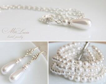 Wedding Bridal Jewelry Set, Swarovski Pearl Wedding Jewelry Set, Necklace Earrings Bracelet SET, Bridal jewelry set  art. e14-b11-n09