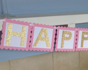Pink and Gold Birthday Banner - Princess Birthday Party - Girls Birthday - Birthday Banner - Happy Birthday Banner- cake smash session