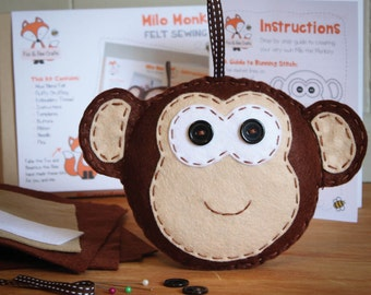 Milo the Monkey Felt Sewing Kit - Perfect gift for kids and adults of all ages and abilities - Includes everything you need
