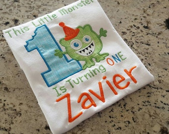 Little monster 1st birthday shirt with name