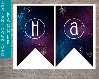 Galaxy Happy Birthday Banner printable and digital file | Cosmic Outer Space Doodle Birthday Party Pennant Flags