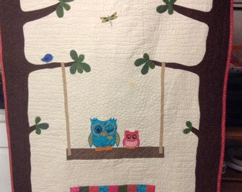 READY MADE /Owl quilt / Owl baby blanket / Owl throw / Toddler or Baby Quilt / Homemade Quilt