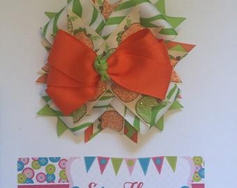 Orange and Green Pumpkins Halloween Hair Bow