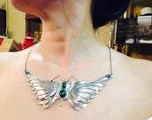 Vintage Southwestern Style Sterling Silver Butterfly Bib Necklace
