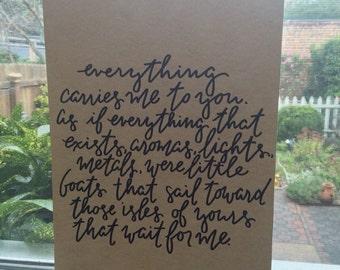 Pablo Neruda Handwritten Quote