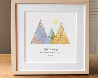 Adventure Together Map Mountain Personalized Wedding Gift Art, Gift for Couple, Anniversary Gift, Adventuring, Adventure, Outdoor Lovers