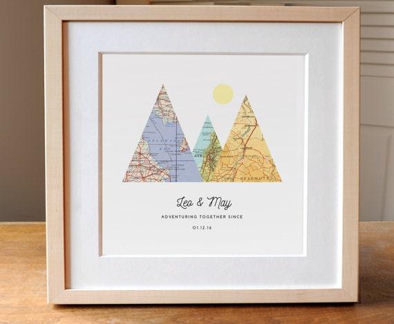 Wedding Gifts For Adventurous Couples : ... Wedding Gift Art, Gift for Couple, Anniversary Gift, Adventuring