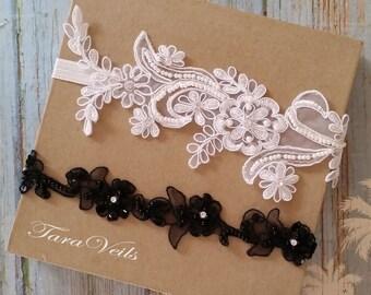 Wedding garter set,white and Black Garter,Rhinestone white Garter, Bridal garters black ,bridal garter,Floral lace garter,Garter Set