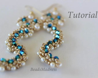 PDF tutorial_beaded earrings waves_Swarovski crystals_beadweaving