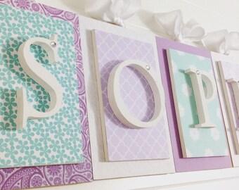 Nursery letters, Purple and Aqua nursery,Purple Nursery Letters,Letters for Nursery, Hanging Wall Letters, Wood Nursery Letters,Wall letters