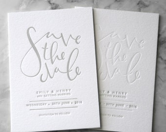 Letterpress Save the Date Invites (50 Pieces)