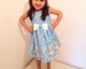 Ready To Ship 3-4 years! Girl's Alice In Wonderland Easter Party Dress, Spoonflower Designer Fabric, Unique Girl's Dress, 1st Birthday Dress