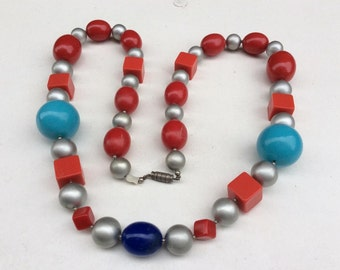 1950s 1960s  Harlequin Multi Coloured Plastic Chunky  Bead Necklace Various Size and shaped Beads