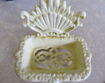 Vintage Off White Cast Iron Soap Dish