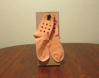 SALE Vintage 1950s 1960s NOS original foil label orange socks polka dots cotton anklets stockings Gil Ades sox
