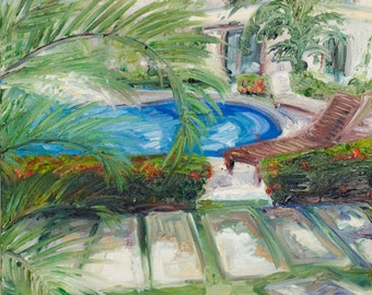 """Poolside, Costa Rica, 20"""" x 20"""", oil on canvas"""