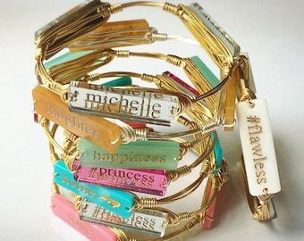 Monogram Bar Bracelet   Custom Colors  Monogram Bracelet   Wire Wrapped