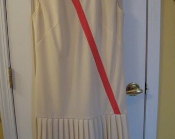 Adorable Vintage Mod 60's Shift Pleated Cream Pink Dress-Small-4