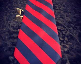 1950's Red & Navy Wide Hipster Tie by Ressman Clothiers, Dr Who Wide Patterned Necktie , Vintage 50's Rockabilly Tie, 50's Rockabilly Tie