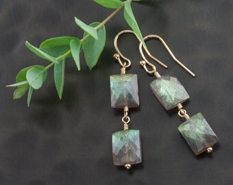 "Gold Labradorite Dangle Earrings – Smoky Blue Green Labradorite ""Imagination"" Wire Wrapped Earrings – 14K Gold Filled – Artisan Handmade"