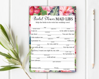 Bridal Shower Mad Libs, Help The Bride Write Her Wedding Vows, Item 711