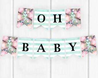 Oh Baby Banner, Boho Baby Shower Banner, Bohemian Baby Shower Decorations, Printable, Baby Shower Banner, Item 241
