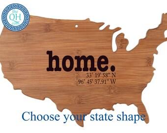 State Shaped Personalized Cutting Board | Home Longitude Latitude  | Custom Housewarming Realtor Closing New Home Gift