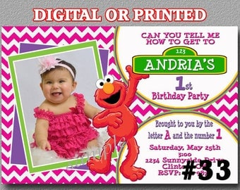 Elmo Sesame Street Invitations girl YOU Print Digital File or PRINTED Elmo Birthday Party Invitation Girl