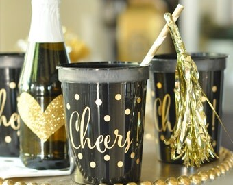 Cheers Cups Gold Foil Print Bridal Shower Bachelorette Party Rehearsal Dinner Birthday Bling Anniversary Wedding Black Pink White Available