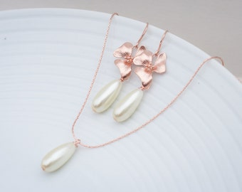 Rose gold orchid and pearl earrings rose gold orchid jewelry set blush orchid and pearl jewelry dangle earrings rose gold flower earrings