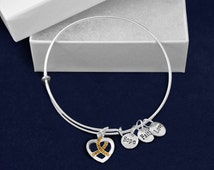 Retractable Gold Crystal Ribbon Charm Bracelet (Retail) (RE-B-14-11)
