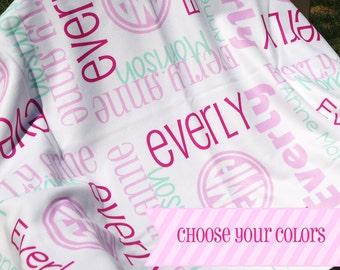 Pink Baby Girl Blanket - Personalized Receiving Blanket for Girls - Custom Name Baby Blanket - Newborn Swaddling Blanket - Baby Photo Prop