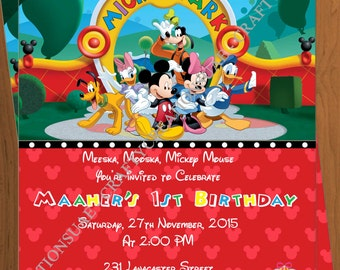 Mickey Mouse Clubhouse Invitation - Mickey Mouse Birthday - Mickey Mouse Clubhouse Party - Mickey Mouse -Clubhouse -DIGITAL -CraftyCreations