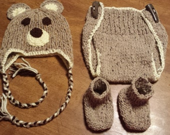 Baby Bear costume, Ready to ship, Newborn photo prop, Infant costume, Baby Hat, diaper cover & booties, Baby gift
