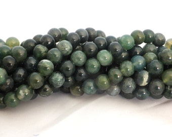 8mm Natural Colour Moss Agate Round Beads - approx. 50 beads
