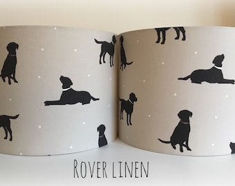 Labrador Rover Dog Fabric Drum Lampshade Handmade Lightshade