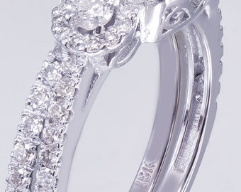 18k White Gold Round Cut Diamond Engagement Ring And Band 2.10ct J-SI1 GIA