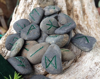 Forest Green Hand Carved Rune Set