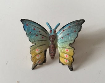 Brooch Butterfly Textured Matte Finish Multi-Colored