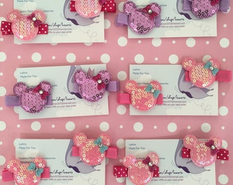 12 Minnie Mouse  Inspired Hair Clips Party Favors