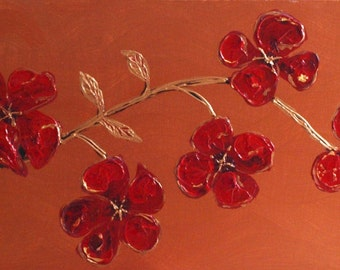 """Contemporary abstract acrylic Red flowers palette knife painting on box canvas by Carolyn-Maria  40"""" x 16"""" ready to hang, wall canvas"""
