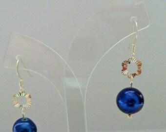 925 Silver & Blue Cultured Pearl Dangle Earrings